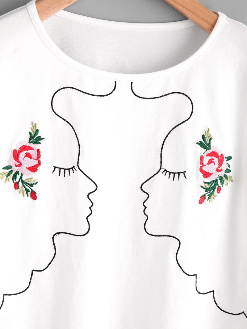 Trumpet Sleeve Symmetric Girl Outline Embroidery Tee