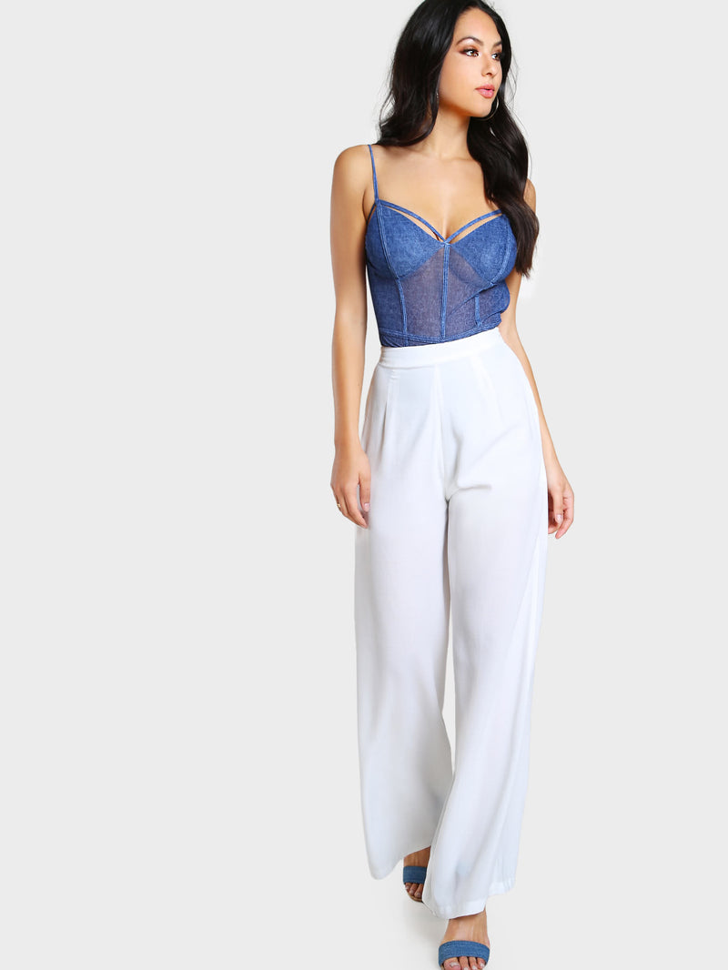 Strappy Denim Look Mesh Bodysuit