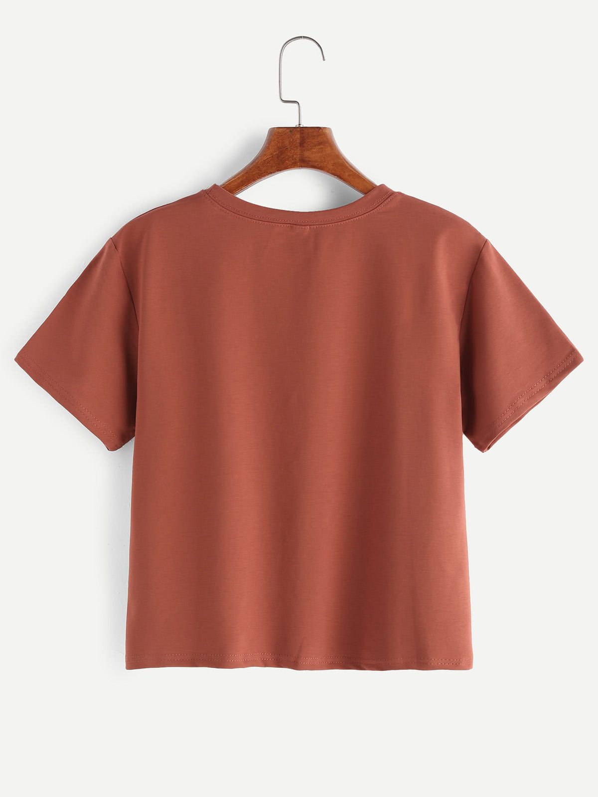 Brick Red Letter Print T-shirt