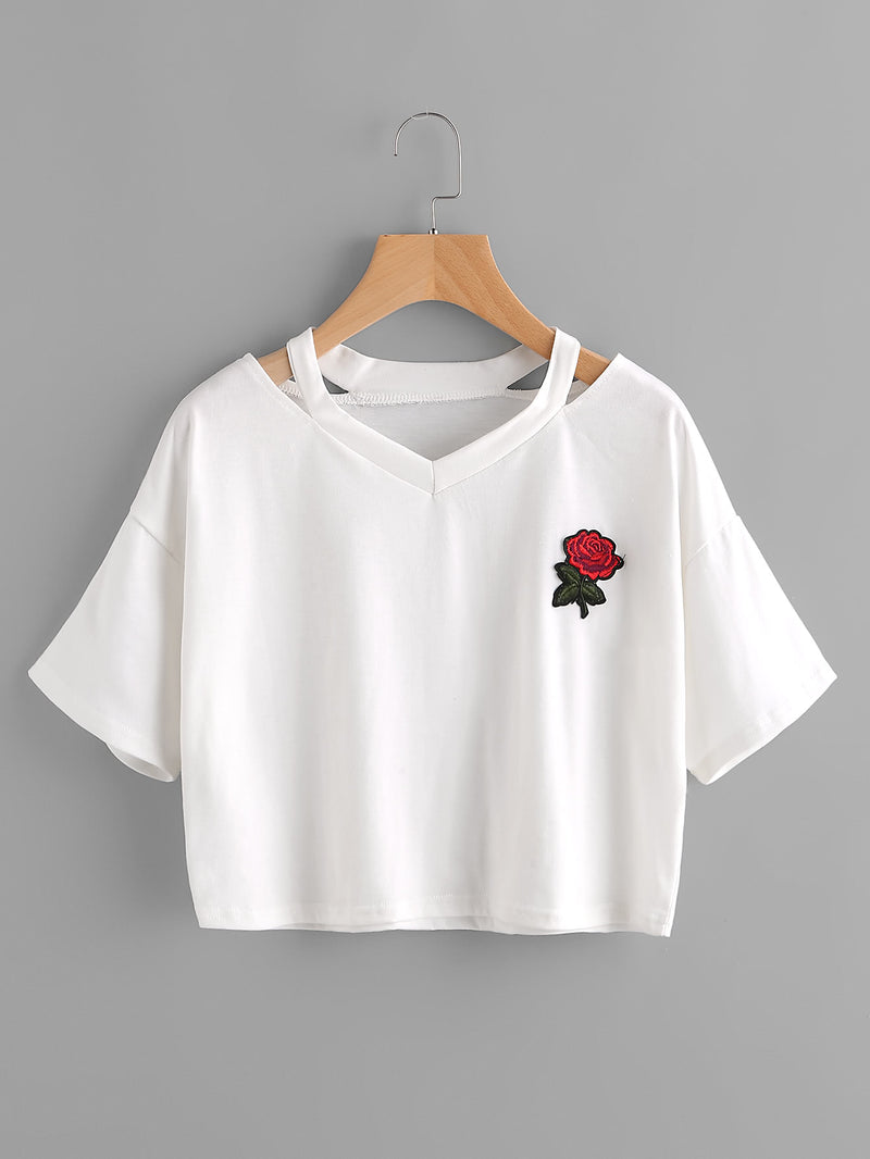 Cut Out Neck Rose Embroidered Patch Tee