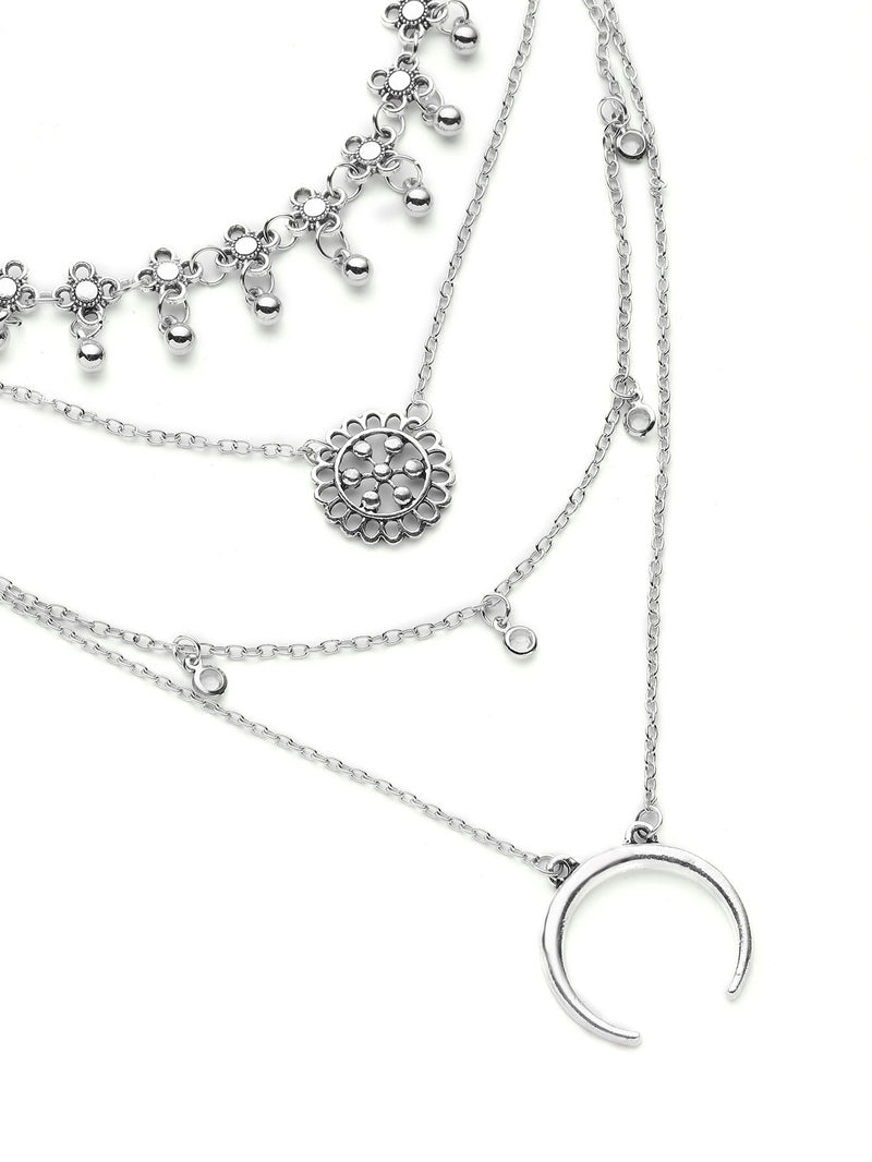 Metal Flower And Moon Design Layered Necklace