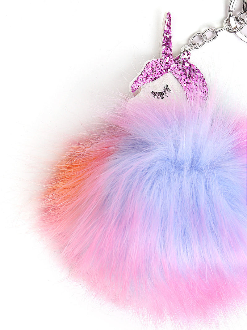 Random Color Pom Pom Unicorn Keychain