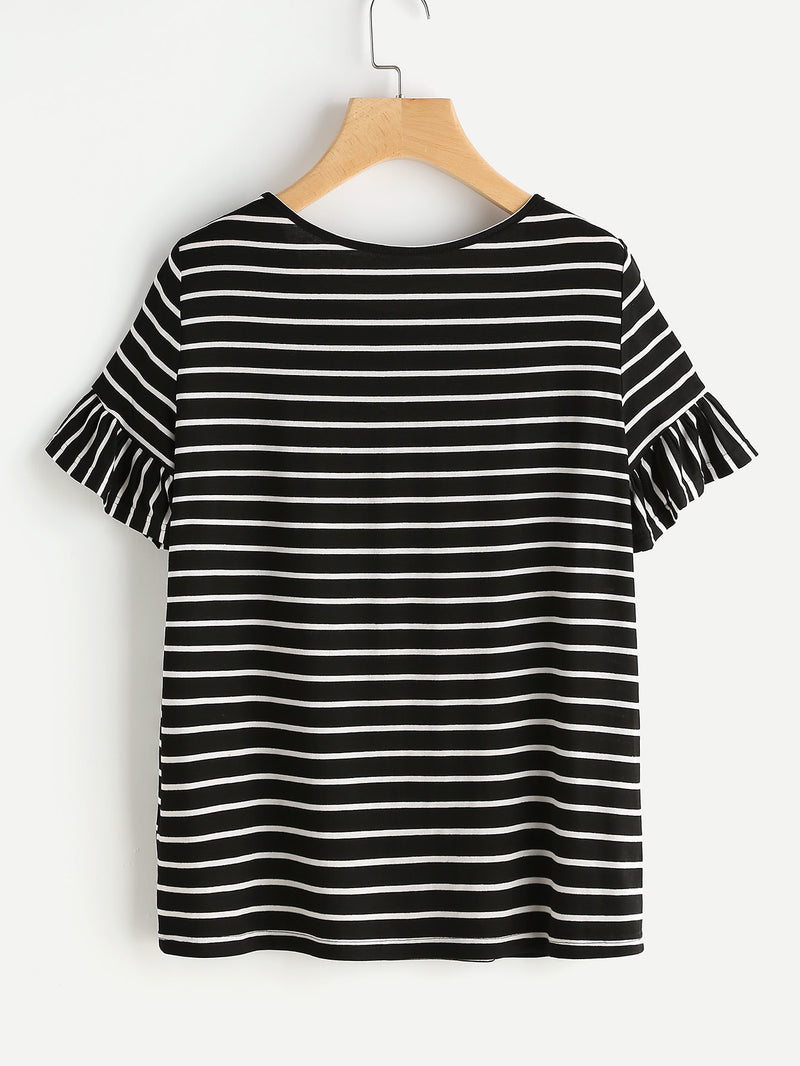 Frilled Sleeve Striped Tee