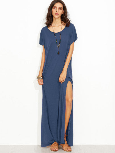 Side Slit Loose Fit Maxi Tee Dress