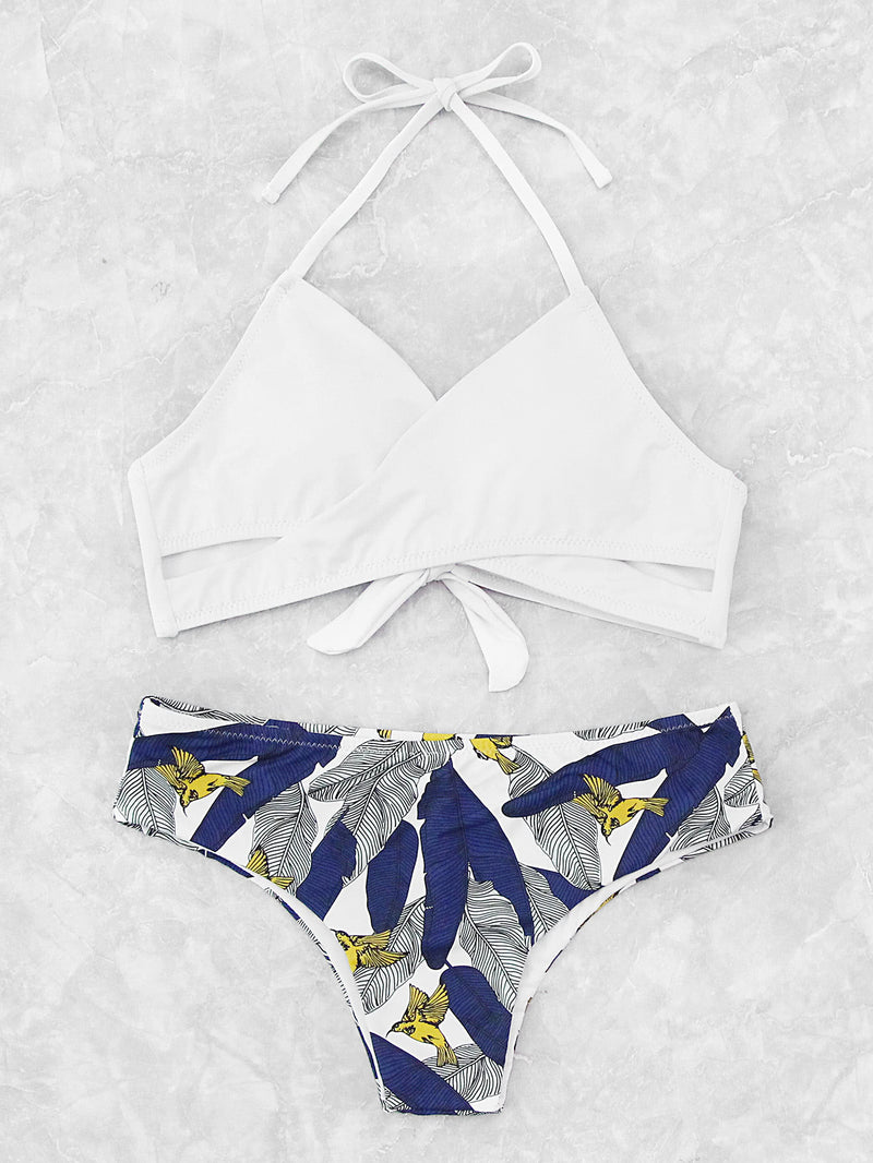 Palm Print Wrap Tie Back Bikini Set