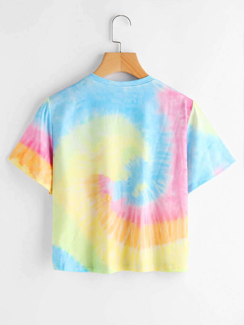 Slogan Alien Print Water Color Tee
