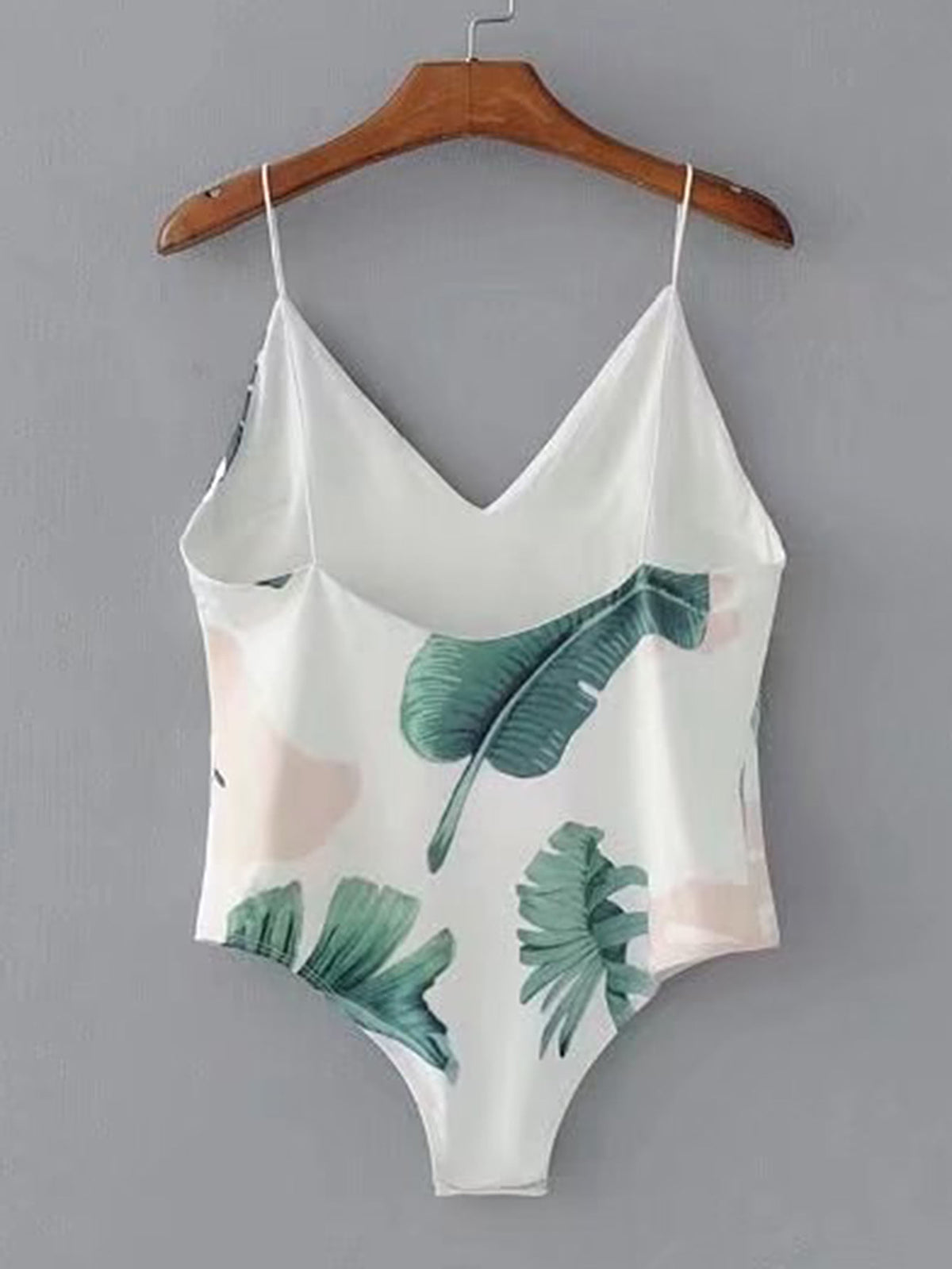 Palm Leaf Print Cami Bodysuit