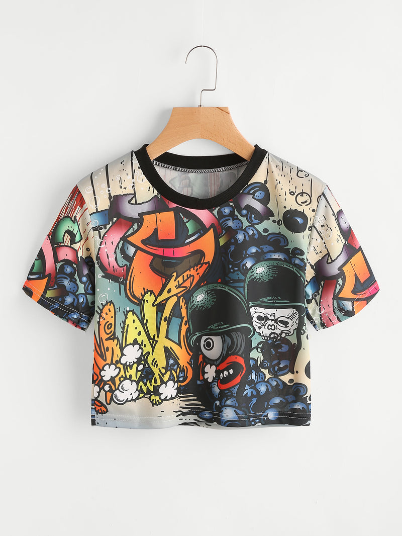 Allover Graffiti Print Tee