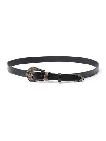 Floral Design Contrast Buckle Belt