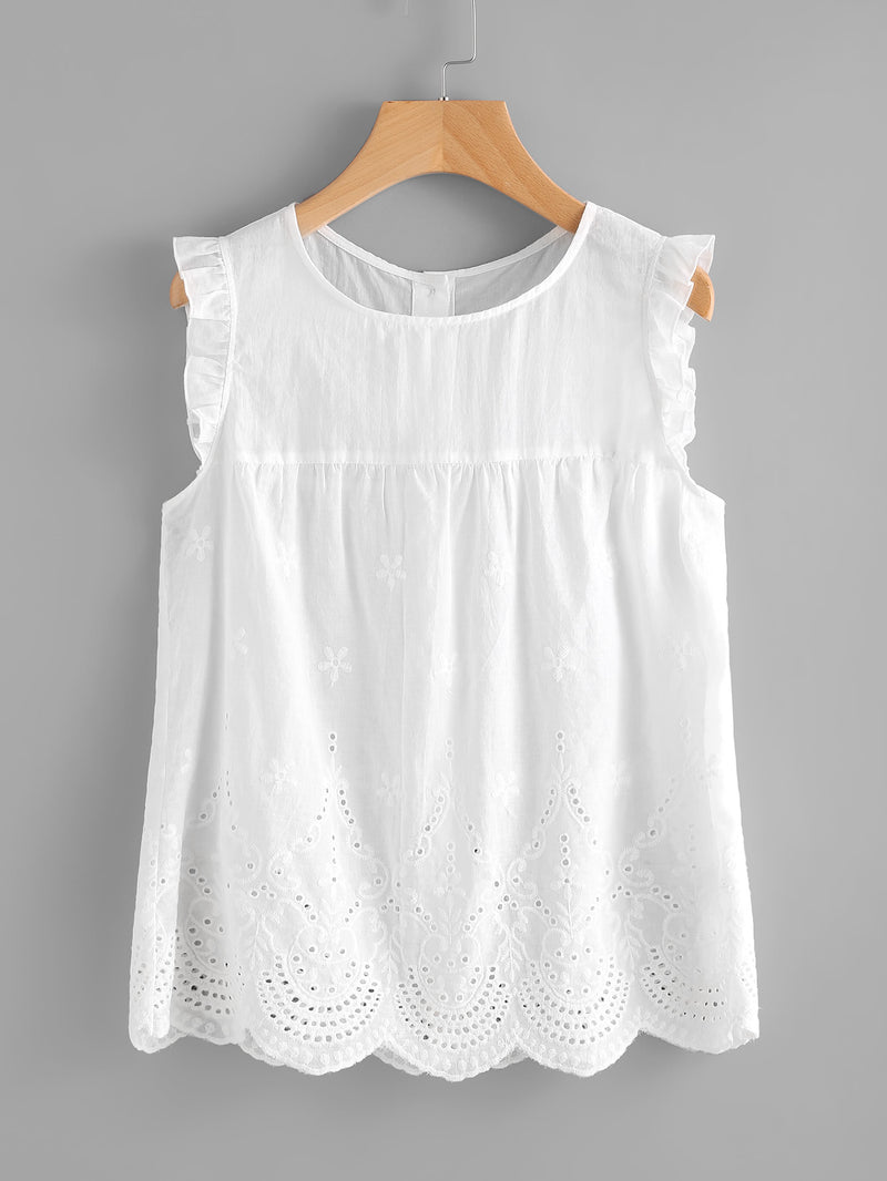 Eyelet Embroidered Scallop Hem Frilled Shell Top