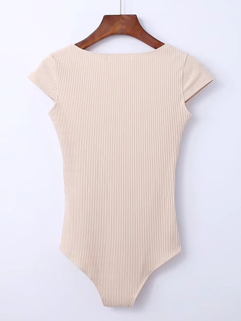Cap Sleeve Ribbed Bodysuit