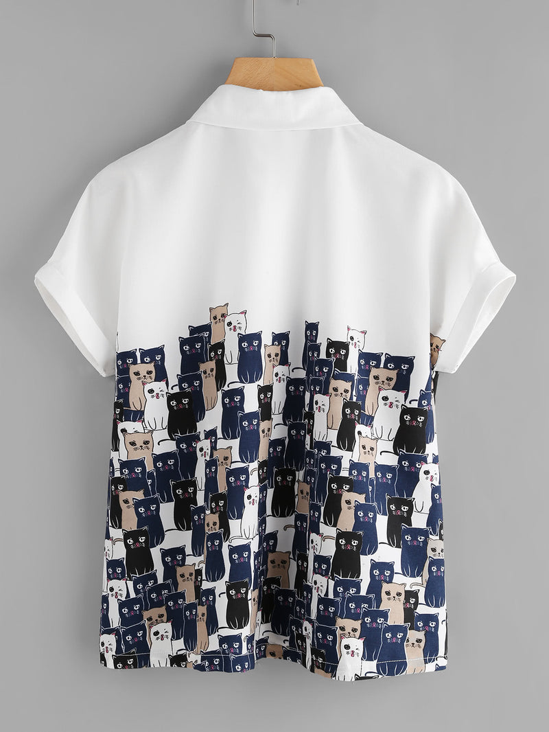 Cartoon Cats Print Cuffed Shirt