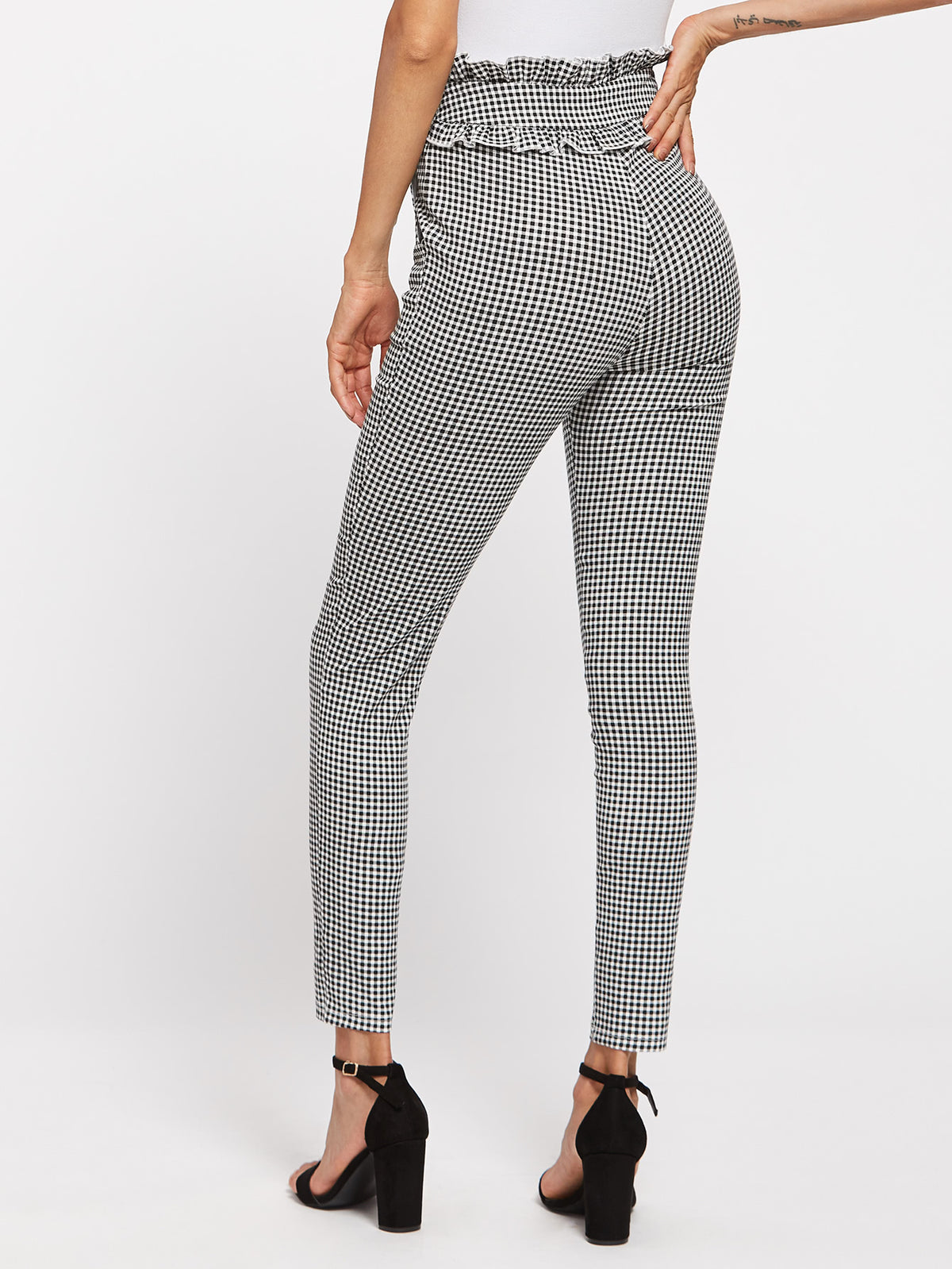 Frilled Waist Gingham Pants
