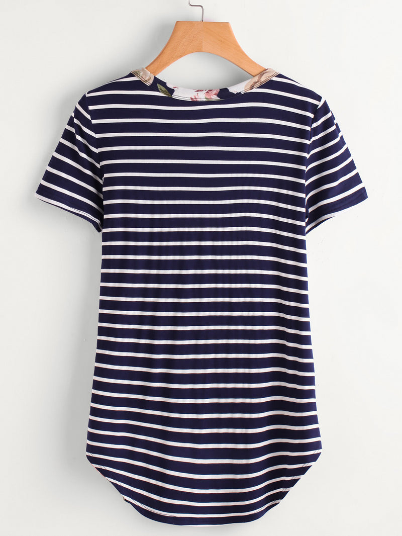 Flower Striped Cut And Sew Dolphin Hem Tee