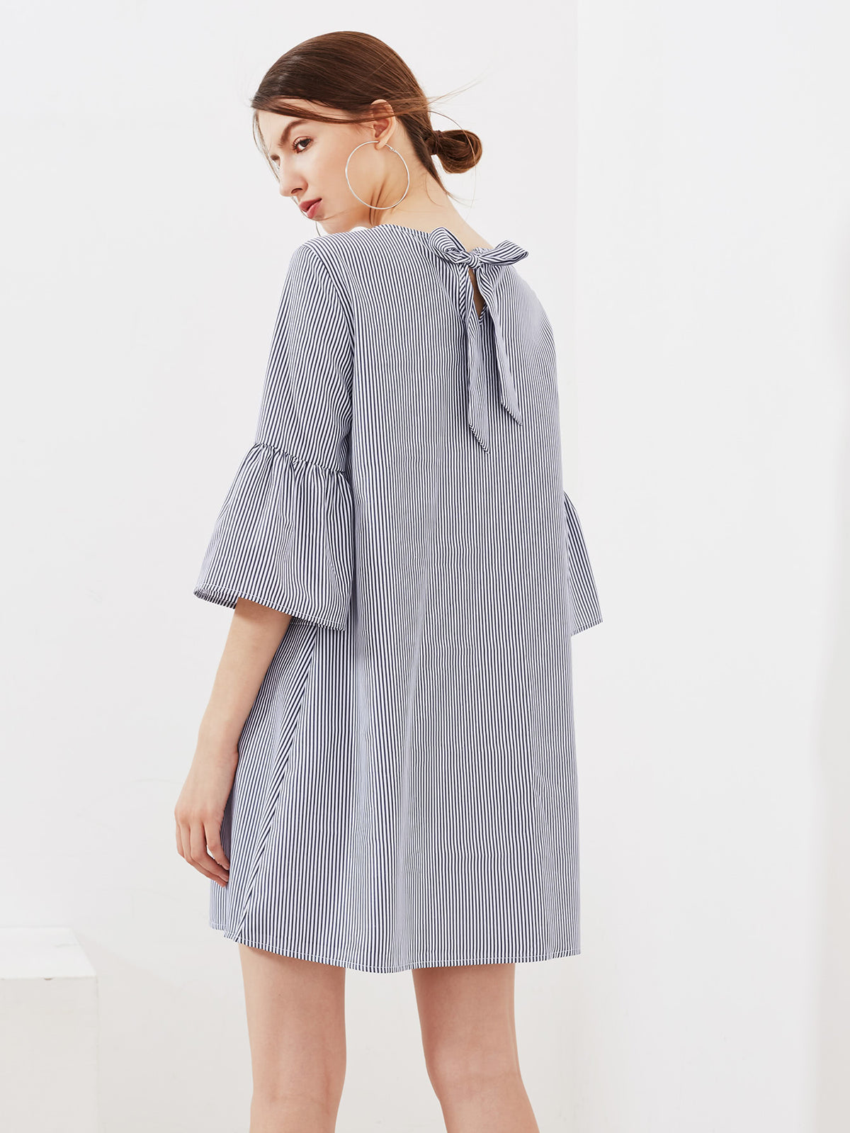 Eyelet Embroidered Trumpet Sleeve Tie Back Dress
