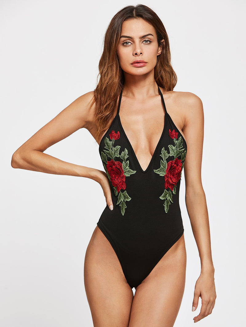 Plunging Backless Bodysuit With Embroidered Applique