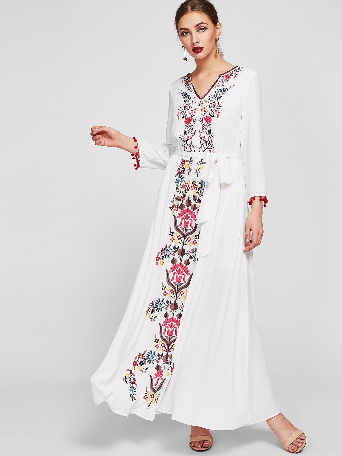 Embroidered Tape Trim Symmetric Flower Print Dress