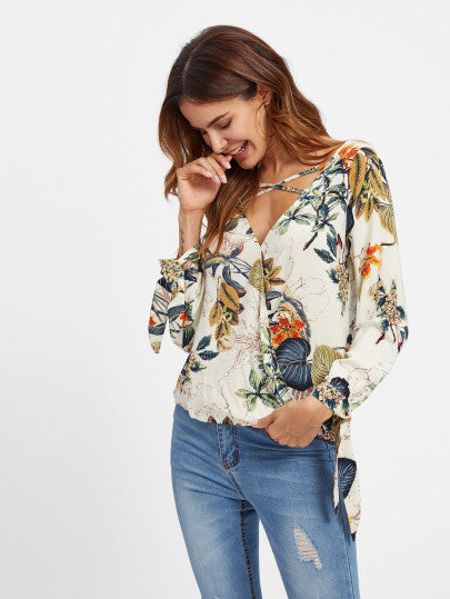 Crisscross Surplice Neckline Tie Detail Tropical Print Blouse