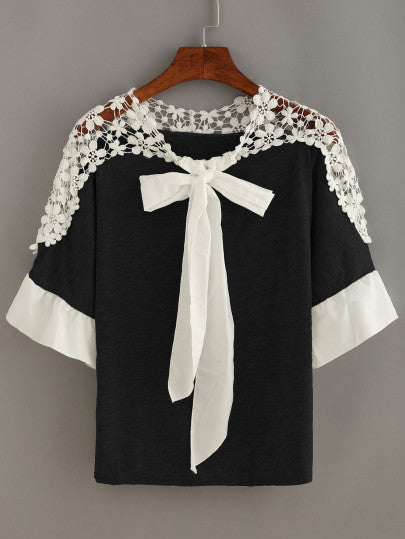 Contrast Crochet Trim Bow Tie Neck Top