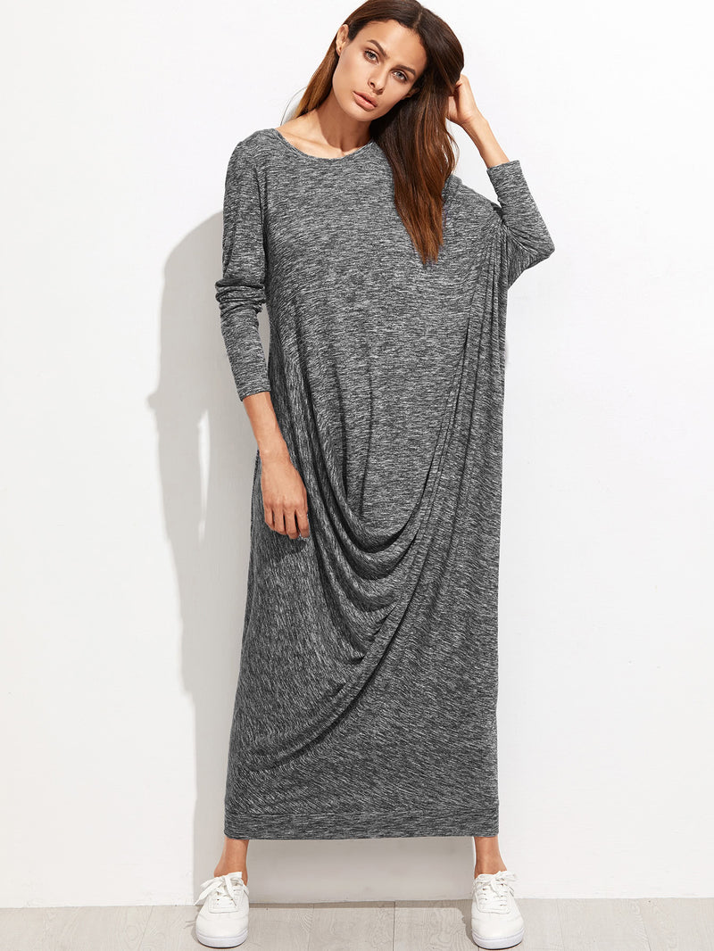 Marled Knit Dolman Sleeve Draped Cocoon Dress