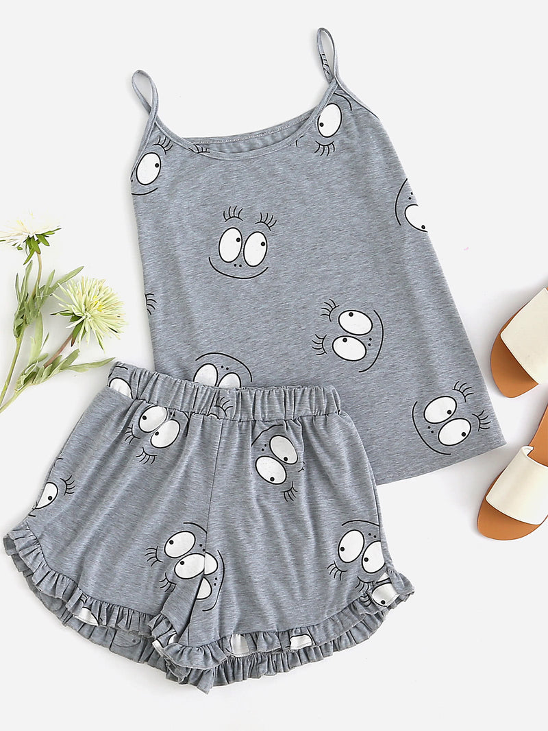 Cartoon Print Frill Trim Cami Pajama Set