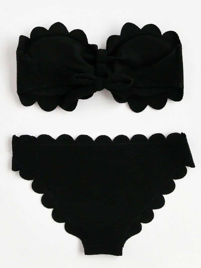 Scalloped Trim Bandeau Bikini Set