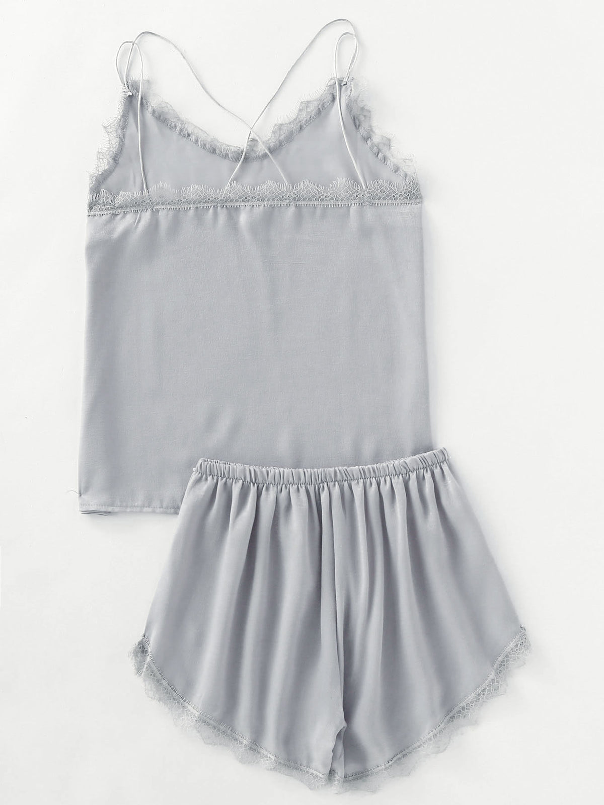 Eyelash Lace Trim Cami Pajama Set