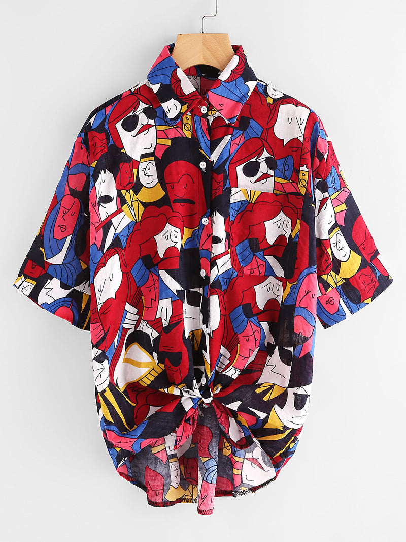 Allover Printed Dip Hem Knot Front Shirt