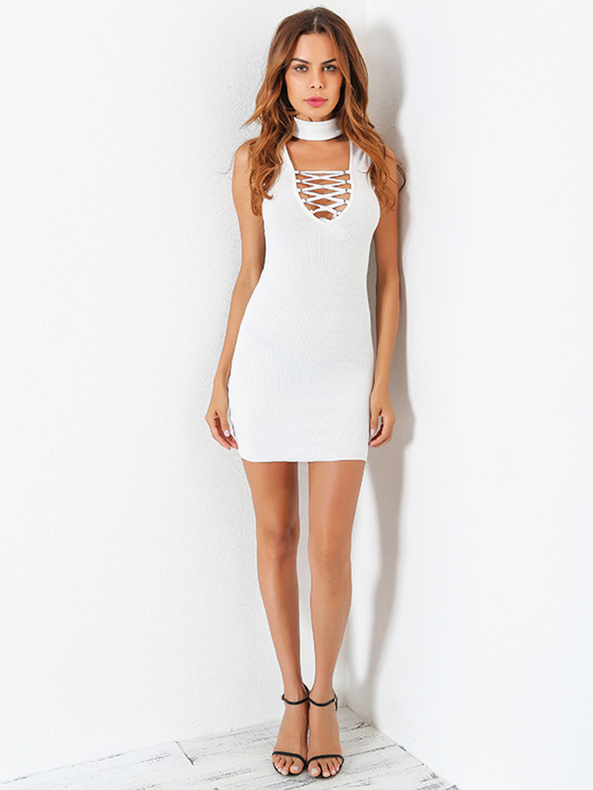Choker Plunge Lace Up Bodycon Dress