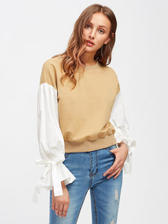 Belted Puff Sleeve Mixed Media Sweatshirt