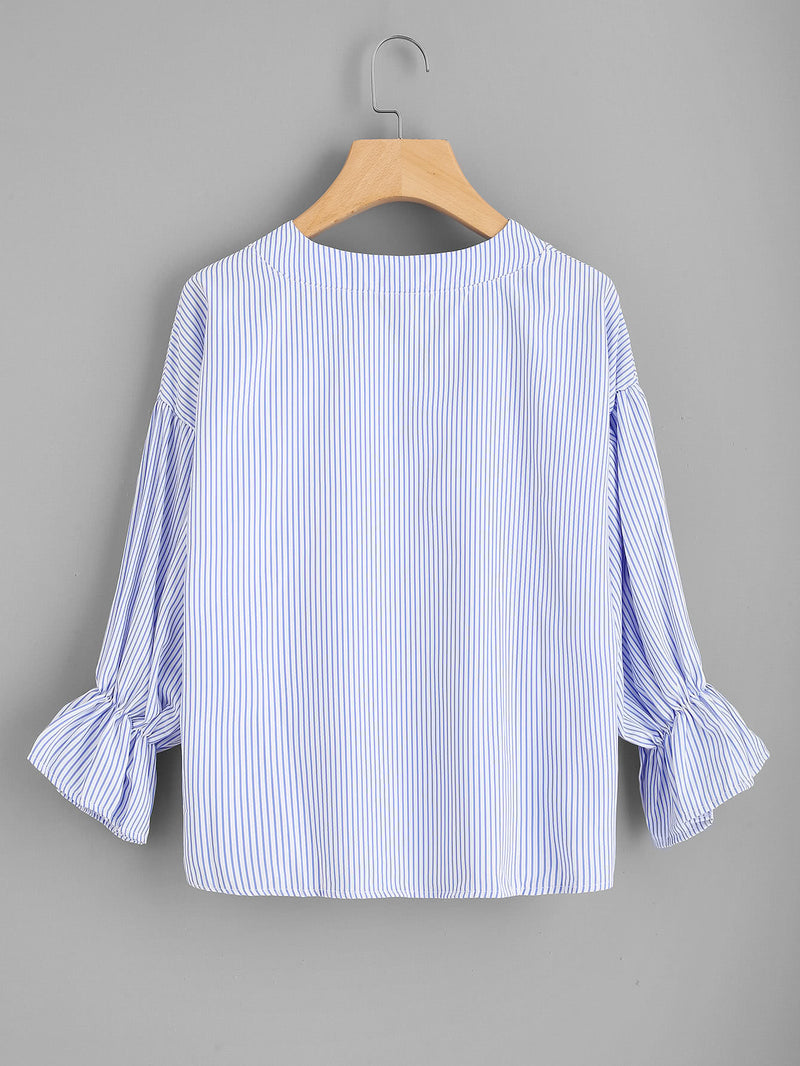 Vertical Striped Drop Shoulder Tie Detail Blouse