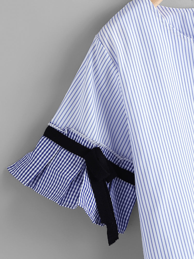 Frill Cuff Pinstriped Blouse