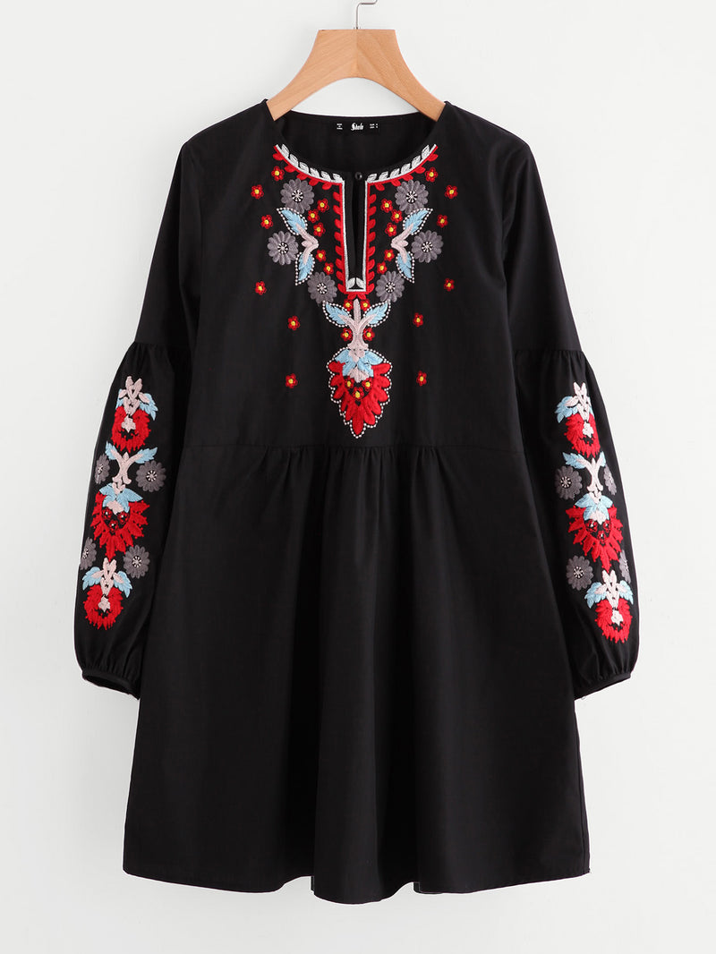 Buttoned Keyhole Front Lantern Sleeve Embroidered Smock Dress