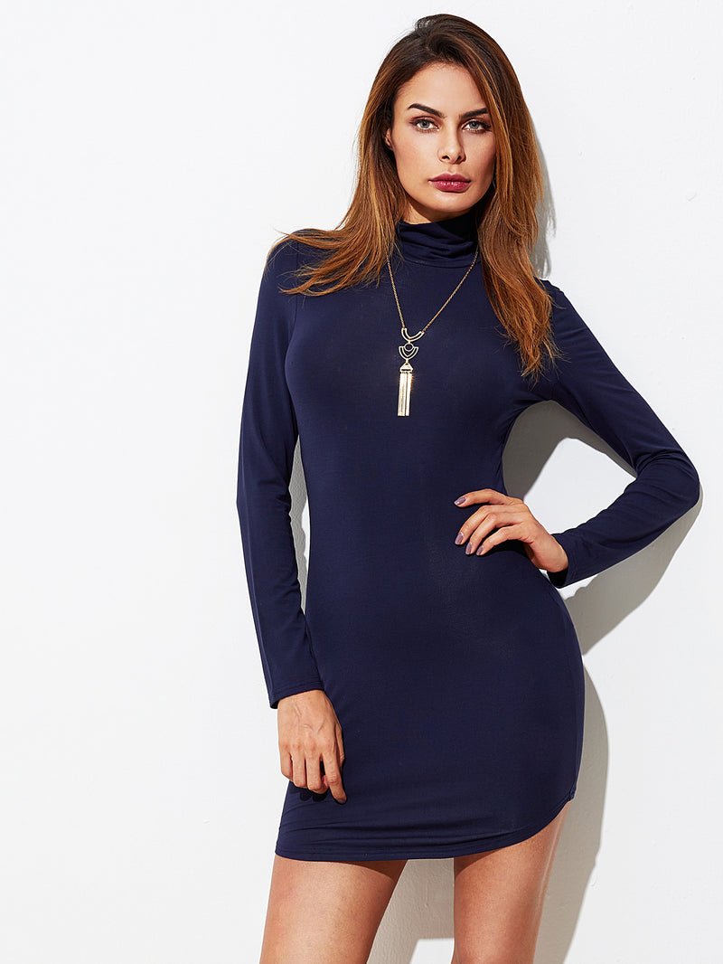 Cowl Neck Curved Hem Bodycon Dress
