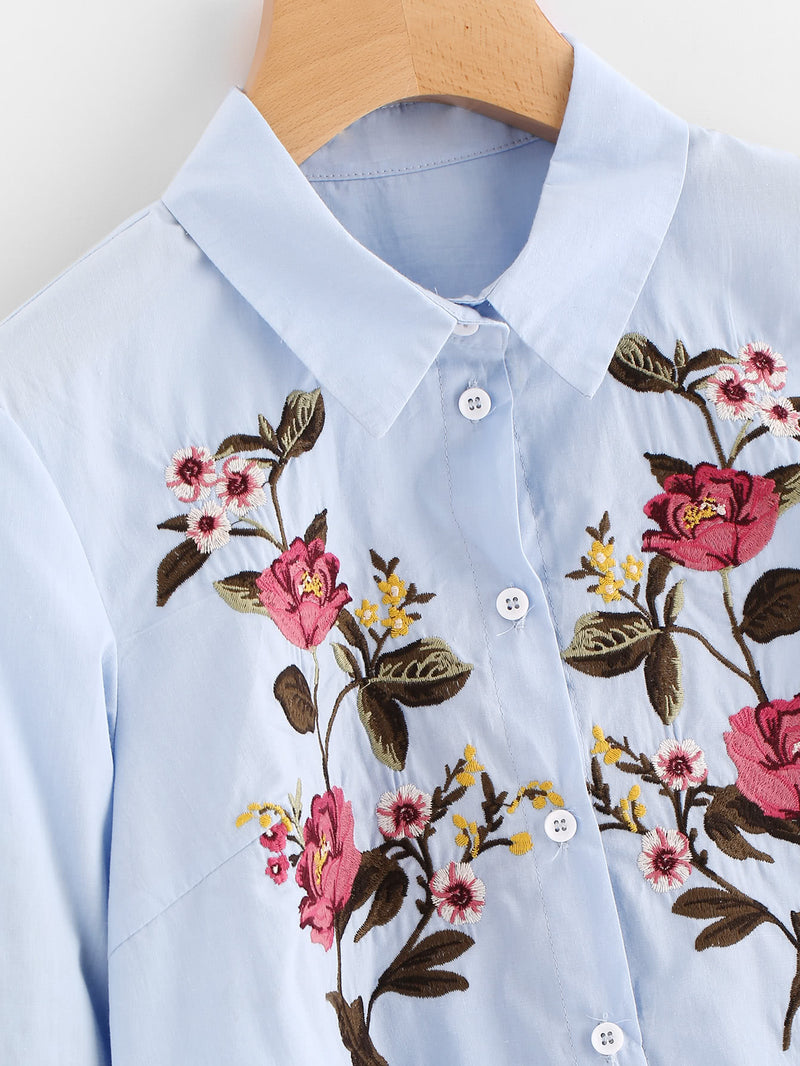Flower Embroidered Dip Hem Longline Shirt