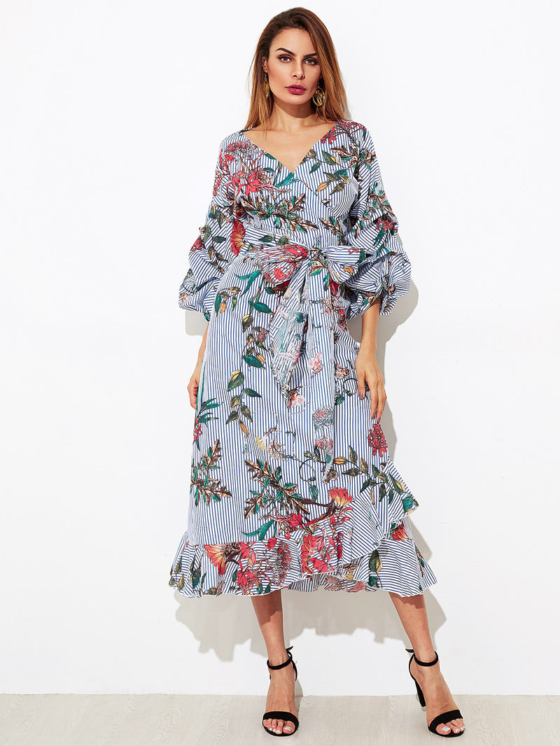 Mixed Print Gathered Sleeve Frilled Wrap Dress