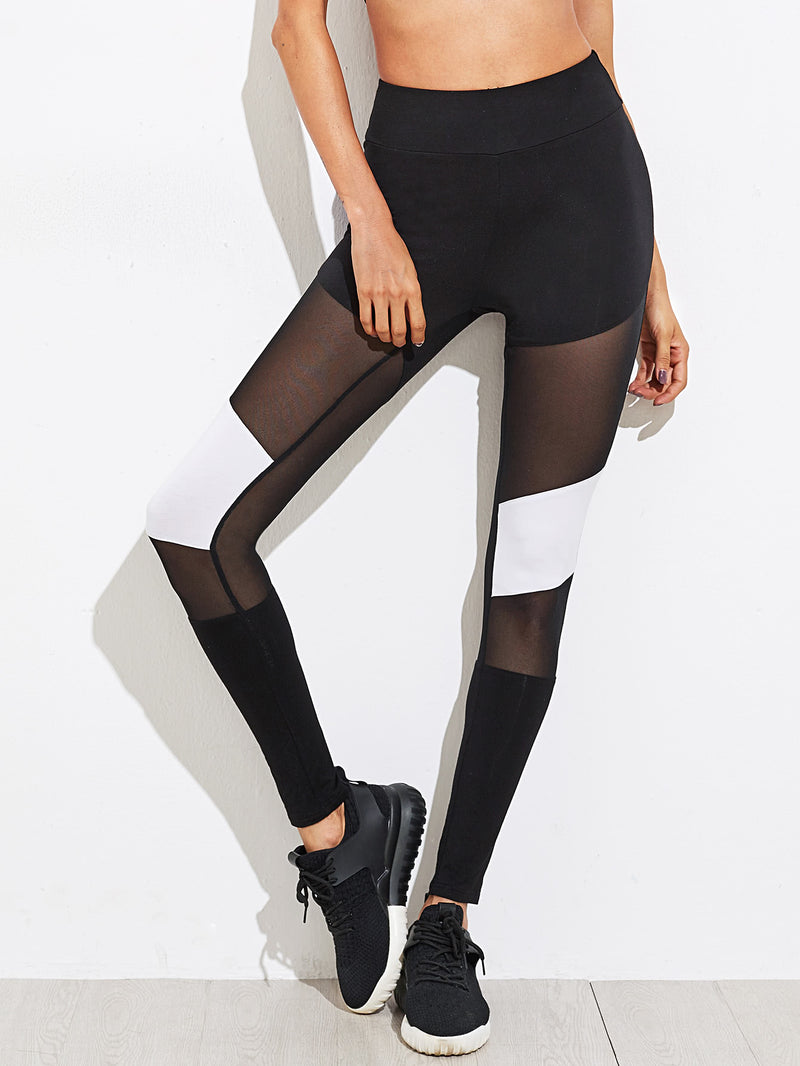 Mesh Insert Color Block Leggings