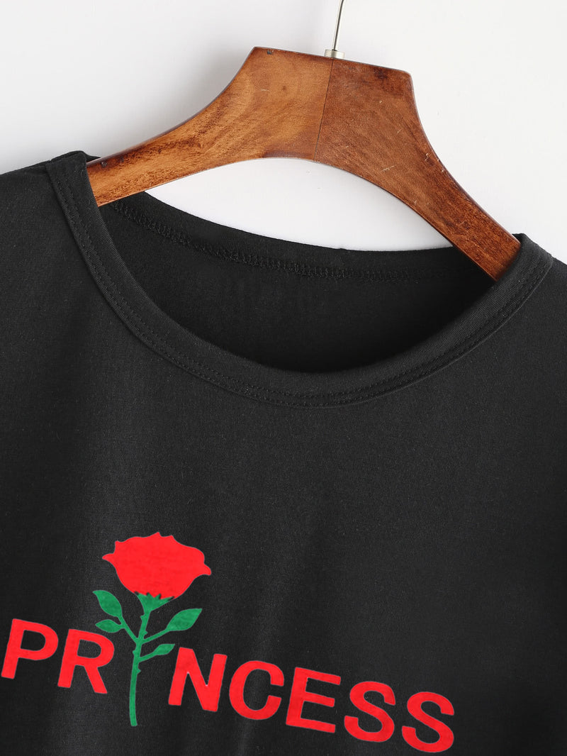 Rose And Letter Print Tee