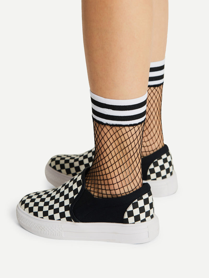 Striped Trim Fishnet Ankle Socks