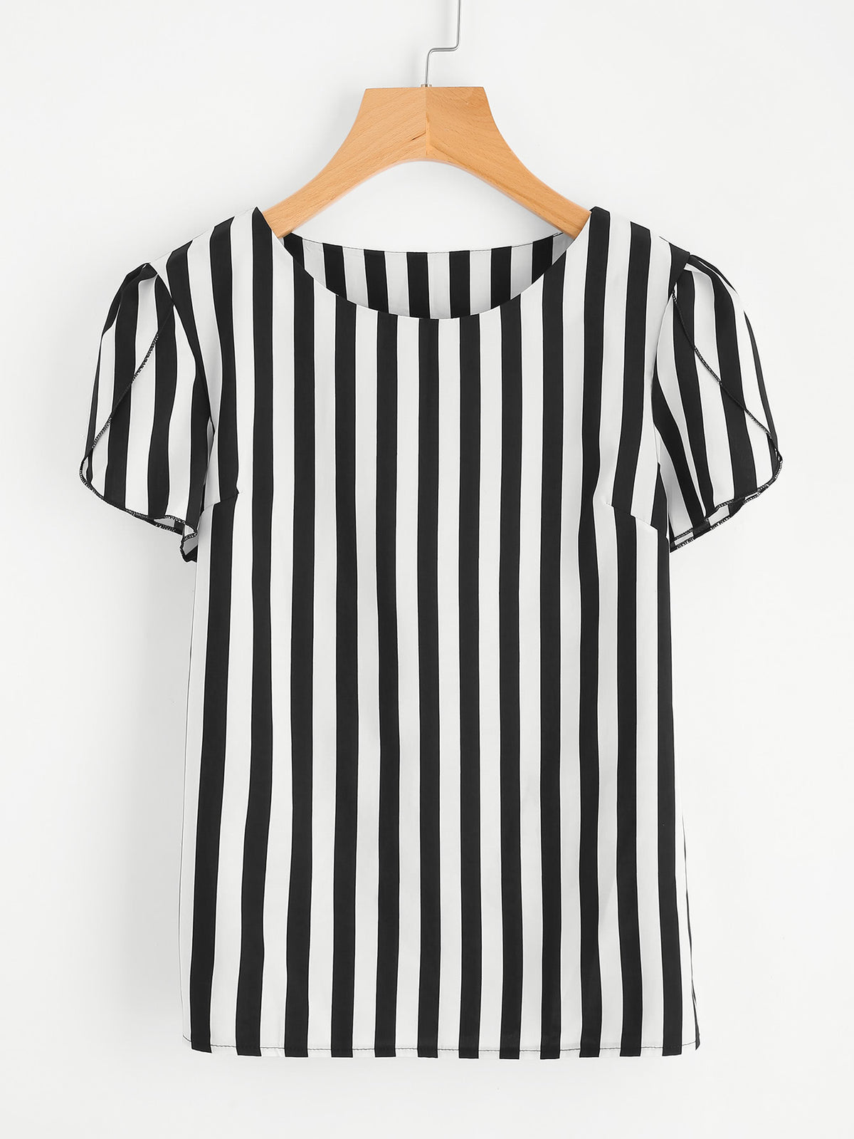 Contrast Vertical Striped Petal Sleeve Blouse