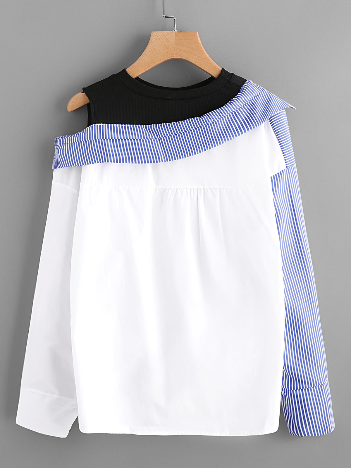 Asymmetric Open Shoulder Contrast Striped Dip Hem Blouse