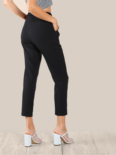 Fold Pleat Detail Peg Pants