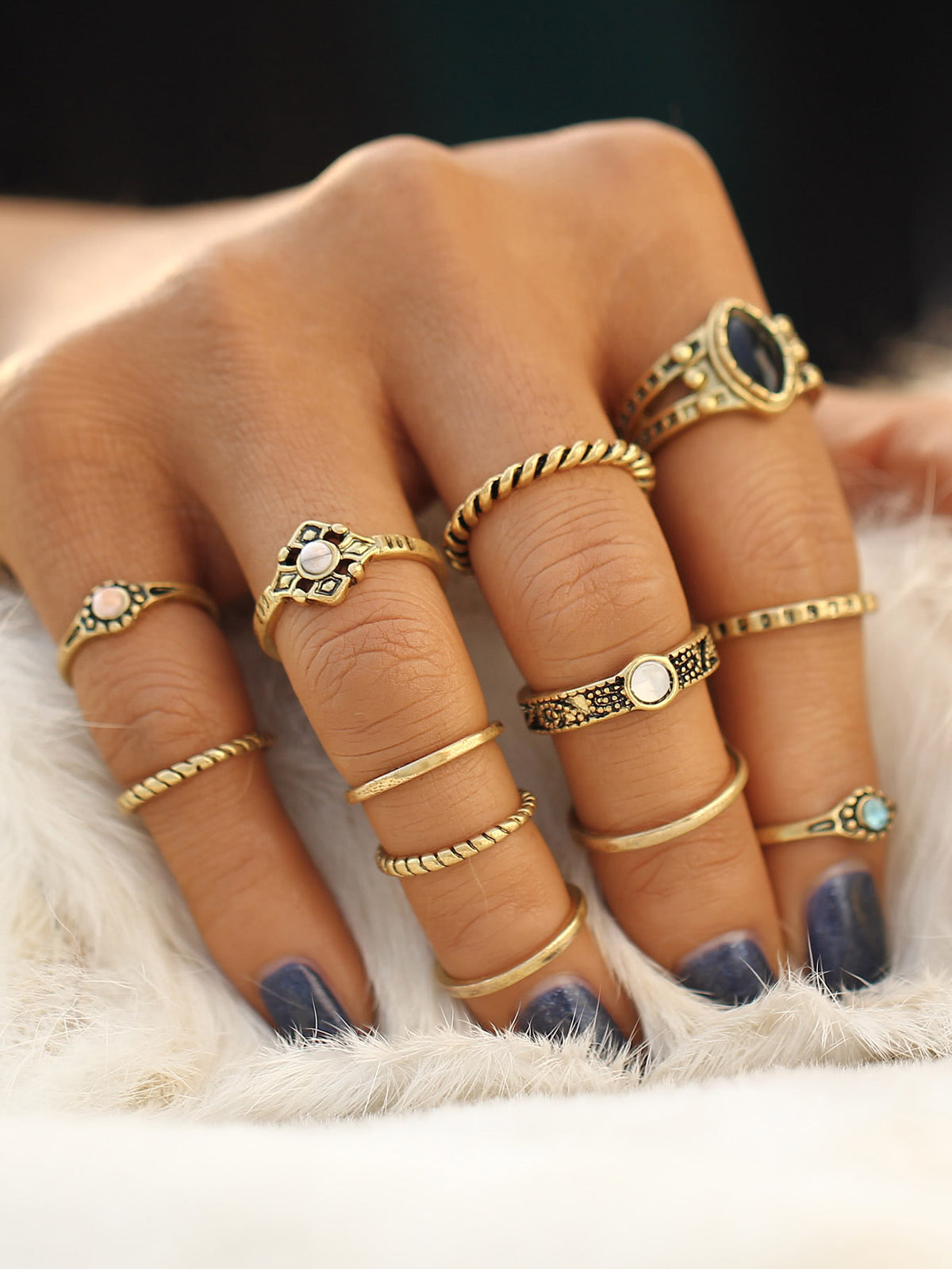 Gold Plated Rhinestone Ring Set