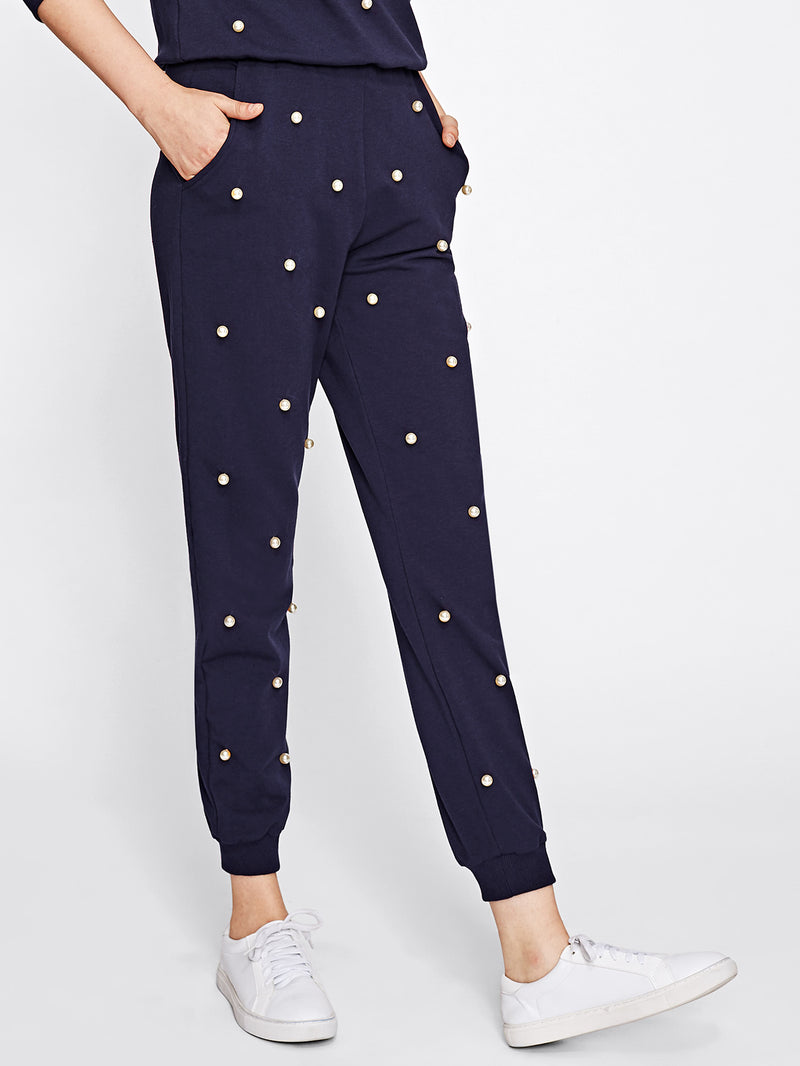 Pearl Beading Sweatpants