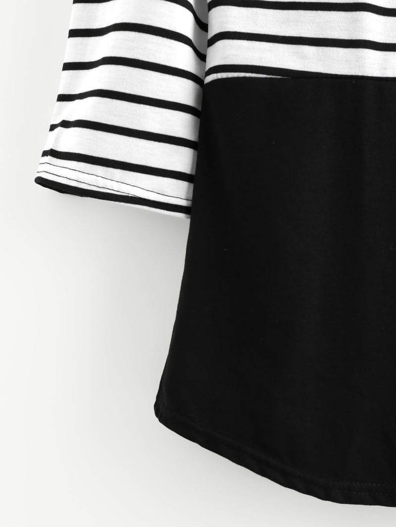 Cut And Sew Panel Striped Tee
