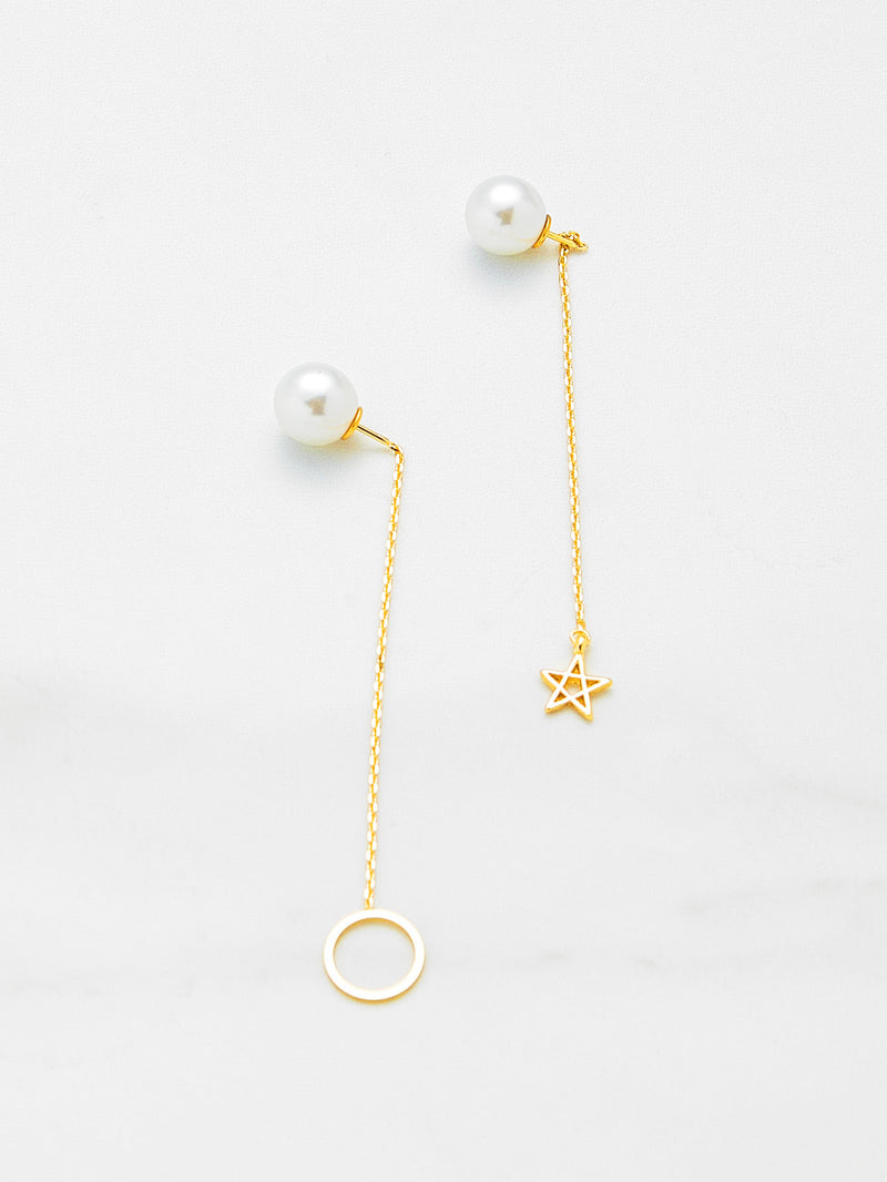 Ring & Star Design Mismatch Drop Earrings