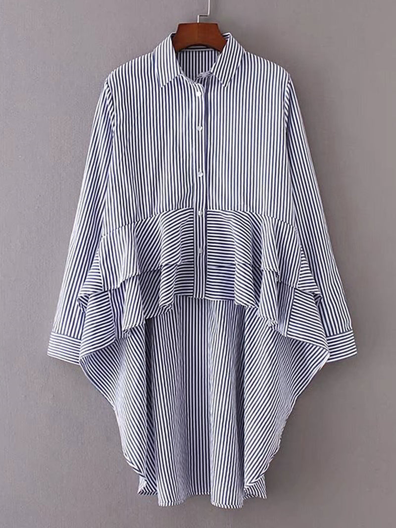 Vertical Striped Tiered Asymmetrical Blouse