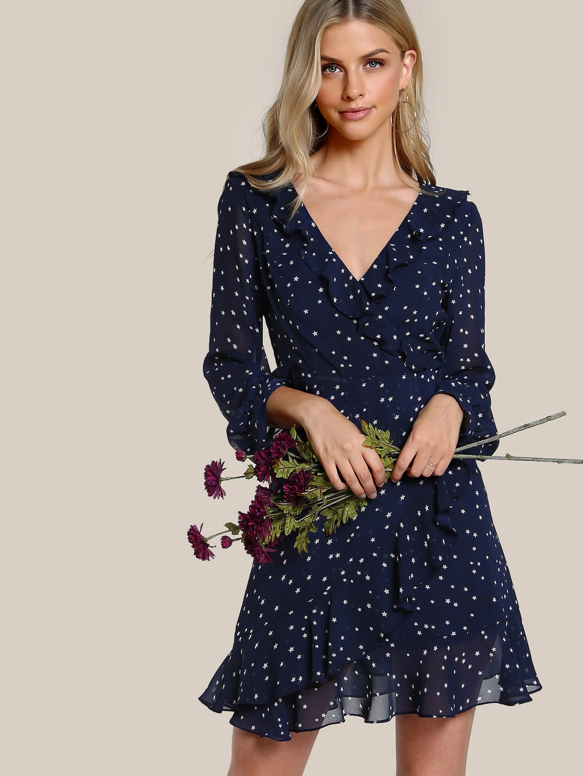 Flutter Sleeve Frilled Surplice Wrap Dress