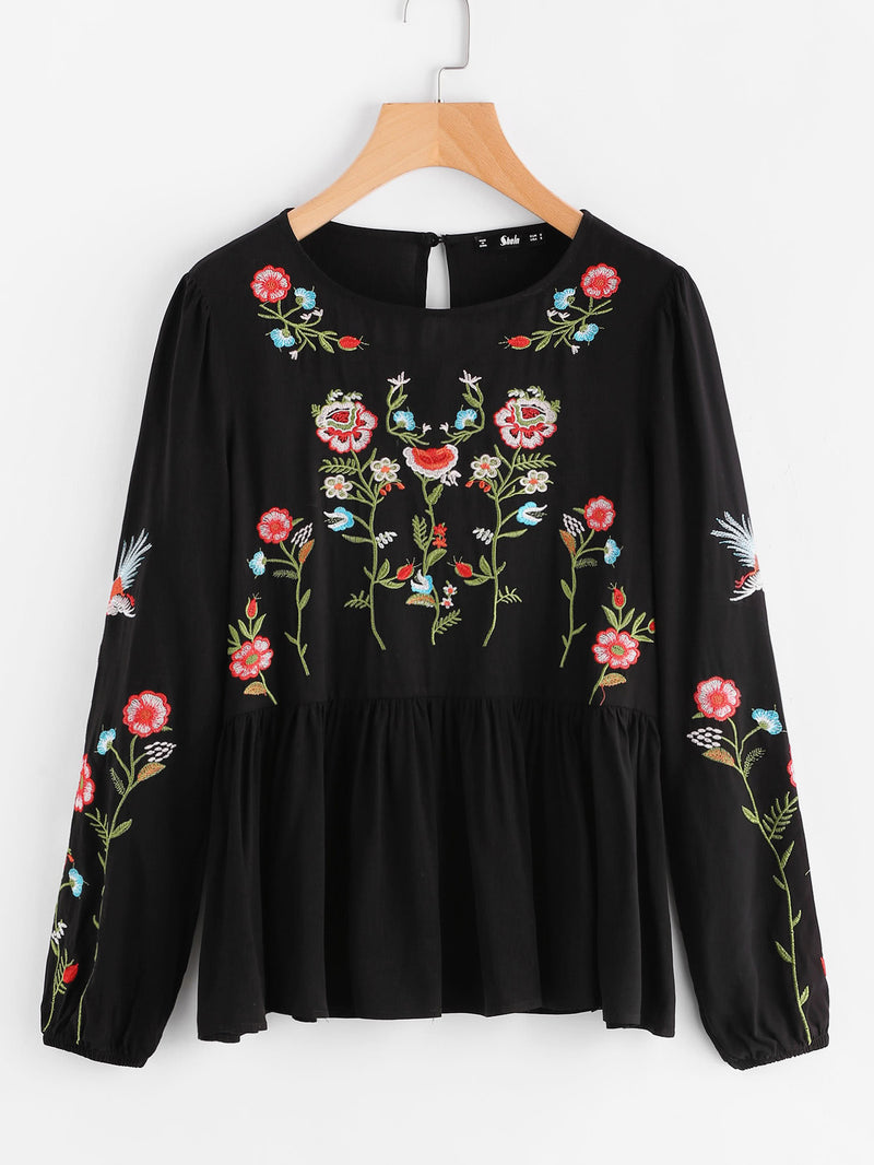 Botanical Embroidered Lantern Sleeve Smock Top