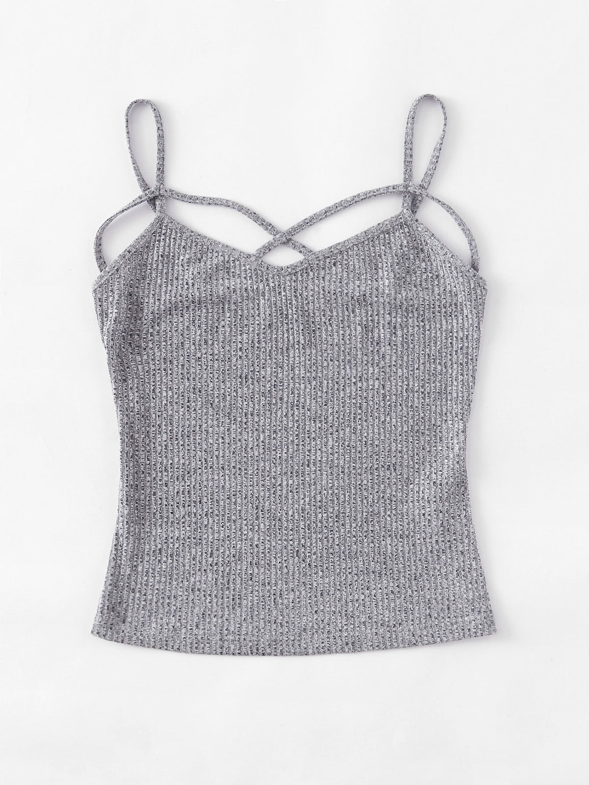 Crisscross Front Ribbed Knit Cami Top